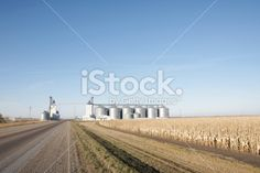 small elevator complex on highway Royalty Free Stock Photo