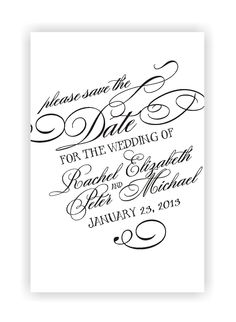 Calligraphy custom save the date stamp. $48.00, via Etsy.