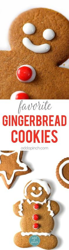 Gingerbread Cookies - Gingerbread cookies are a favorite Christmas cookie recipe and this gingerbread will become a favorite with a few special additions. // addapinch.com #gingerbread #cookies #christmas #holidays #gingerbreadman #gingerbreadcookie #cookieexchange #cookiedecorating #addapinch