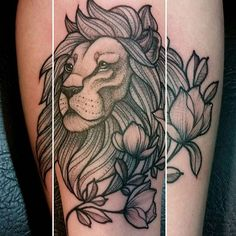 Neotraditional lion tattoo