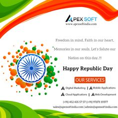 Freedom in mind, faith in heart, memories in our souls, lets salute our nation on this day Happy Republic Day Sales Enquiry: (+91) 452 435 57 57   (+91) 97871 19377  Or Reach Us: www.apexsoftindia.com  Mail: sales@apexsoftindia.com,  admin@apexsoftindia.com
