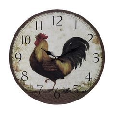 Sterling Industries Large Rooster Clock