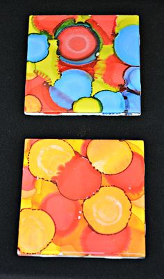 Alcohol ink coasters.  Just saw this on the chew, totally making these with Brett!