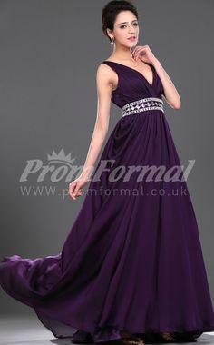 A-line V-neck Long Prom Dresses