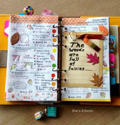 She's Eclectic: My week in my Filofax #42  The woods are full of fairies; the sea is full of fish; the trees are full of golden leaves; let's make an Autumn wish.
