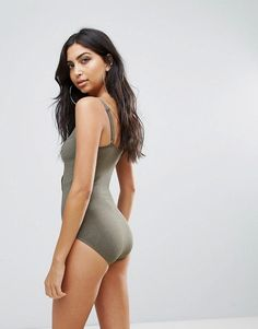 Pour Moi Textured Lace Up Swimsuit - Green