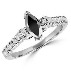 Black Diamond Wedding Rings, Black Diamond Necklace, Diamond Jewellery, Cocktail Rings, Ring Designs, White Gold, Black Diamonds, Marquise Cut, Engagement Rings
