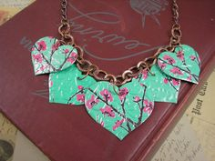 Recycled Soda Can Art  5 Heart Necklace  DOUBLEsided by jillmccp, $14.95