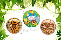 Safari Birthday Balloons Giraffe Tiger Orbz Mylar Jungle Party Safari Party Decor Zoo Animal Birthday Party Balloons Made in USA Kids Adults by PartySurprise on Etsy Mylar Balloons, Confetti Balloons, Balloon Arch, Latex Balloons, Animal Balloons, Adult Safari Party, Jungle Party, Safari Party Decorations, Birthday Decorations