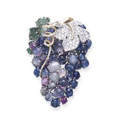 Seaman Schepps sapphire, diamond, emerald brooch