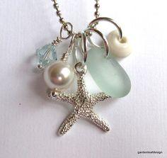 Seafoam Seaglass Starfish  Necklace by GardenLeafDesign on Etsy, $24.00