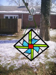 Small Stained Glass Panel. Quilt Block. by SarahsArtScene on Etsy, $35.00