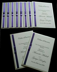 Wedding Order of Service Booklets in Ribbon and Bow Design by RSVPoppy on Etsy