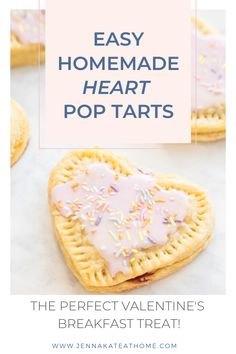 Homemade Heart Shaped Pop Tarts - Your favorite breakfast pastry just got yummier! This homemade pop tart recipe is not only easy but - # Breakfast Pastries, Best Breakfast, Breakfast Recipes, Baking Recipes, Dessert Recipes, Ham Recipes, Broccoli Recipes, Sausage Recipes, Baking Ideas