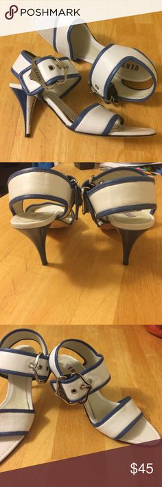 """Versus by Versace Leather Heels Blue and white leather, with blue and white heel that says """"Versus"""" silver hardware at ankle. Originally $99 at Marshalls Versus By Versace Shoes Sandals"""