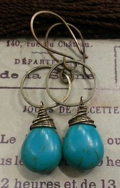 Turquoise Earrings, Crow & Iris, $32 via boutiika.com