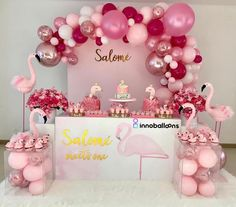 Cutest flamingo setup BY: Pink Flamingo Party, Flamingo Baby Shower, Flamingo Birthday, Birthday Balloons, Birthday Party Themes, Girls Party Decorations, Balloon Decorations, Baby Shower Decorations, Decoration Evenementielle