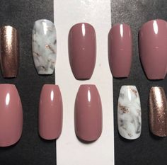 Glue Included  Mauve Marble Rose Gold Press On Nails  Press