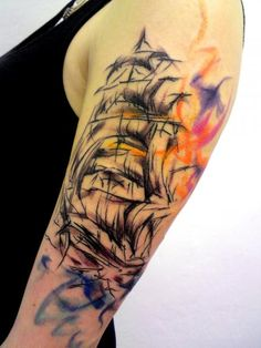 Abstract Ship Tattoo On Left Half Sleeve