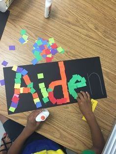 Name Art: what a fun way for kids to practice cutting, gluing, and tracing their…