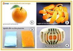 """""""La buccia d'arancia comune (anche il limone) contiene acido citrico (il limone ne contiene 3 volte di più), che viene molto utilizzato negli alimenti. L'acido citrico respinge oltre che le zanzare, anche la maggior parte delle mosche e moscerini, profumando l'ambiente."""
