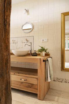 RestyleXL badkamermeubel in een landelijke badkamer. #badkamer #landelijk #badkamermeubel #restylexl Bath Vanities, Double Vanity, Woodworking Projects, Bathroom, Mailbox, Spaces, Powder Room, Washroom, Bricolage