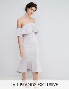 True Decadence Tall Exagerated Frill Bandeau Midi Dress With Peplum Hem. | dresslover.co.uk