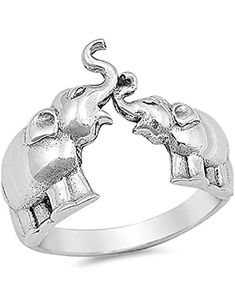 925 Sterling Silver ~ Elephant ~ Wide Band ~ Sizes 5-10