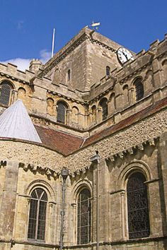 Romsey Abbey - Looking up towards tower of Norman church
