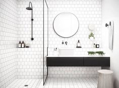 Metro tiles - white and black shower room