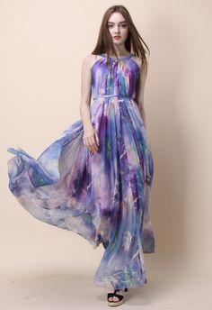 Aquarelle Florale Robe Longue en Violet - Dress - Retro, Indie and Unique Fashion