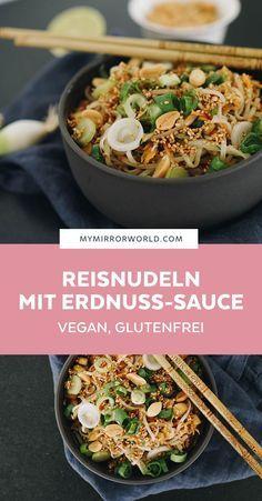 Rice noodles with peanut sauce - vegan, gluten-free - veggie foodinspiration -. Rice noodles with peanut sauce - vegan, gluten-free - veggie foodinspiration - Vegan Recipes Rice Noodles, Rice Recipes, Asian Recipes, Vegetarian Recipes, Dinner Recipes, Healthy Recipes, Vegan Vegetarian, Quinoa Vegan, Peanut Recipes
