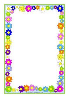 Flowers Page Borders Frame Border Design, Boarder Designs, Page Borders Design, Page Boarders, Boarders And Frames, Printable Border, Printable Labels, Printables, Scrapbook Frames
