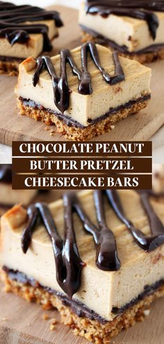 Chocolate Peanut Butter Pretzel Cheesecake Bars have a salty pretzel crust with chocolate peanut butter ganache drizzled over the homemade peanut butter cheesecake! Easy, from-scratch recipe that is the best dessert idea for a crowd. Peanut Butter Pretzel, Homemade Peanut Butter, Peanut Butter Desserts, Chocolate Peanut Butter Cheesecake, Peanut Butter Drizzle Recipe, Homemade Snickers, Desserts To Make, Köstliche Desserts, Cheesecake