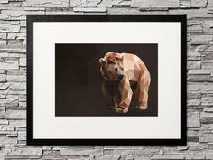 Geometric Animal Bear, Geometrischer Bär, Umrisse & Kontur, cool & stylish für deine gallery wall als decor im wohnzimmer Printable Designs, Printables, Spirit Bear, Low Poly, Geometric Animal, Etsy, Vintage, Digital, My Love
