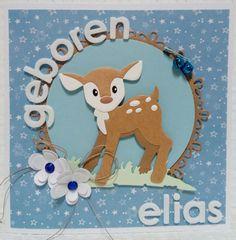 Gemaakt door Joke # Geboortekaartje met hertje - Elias geboren