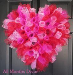 Pink  Red Spiral Deco Mesh Valentine's Heart by AllMonthsDecor