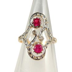 Gorgeous Edwardian French gold ring Double ruby 18K solid gold Natural diamonds and rubies, Hallmarked