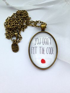 "Dexter Necklace - Handmade - With Blood Slide And Quote ""You Don't Fit The Code"" on Etsy, $11.85"