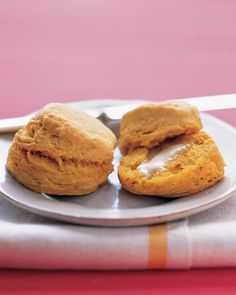 Orange sweet potatoes give a soft texture and a beautiful golden color to these fluffy biscuits-perfect to serve with Thanksgiving dinner.