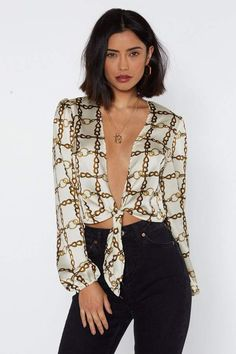 63407763ecb Chain on Me Tie Front Blouse. Nasty Gal ...