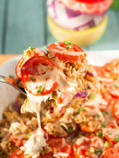 This Taco Salad Casserole loaded with seasoned meat, hearty rice, flavorful salsa, and healthy cabbage gives you the best of taco salad and a hot meal!