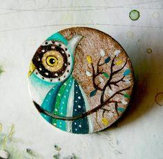 Green owl hand painted brooch by vickygonart on Etsy, $23.00