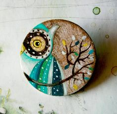 Green owl hand painted brooch by vickygonart on Etsy, $23.00