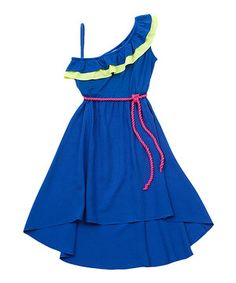 Look what I found on #zulily! Blue & Yellow Asymmetrical Hi-Low Dress - Girls by Rare Editions #zulilyfinds
