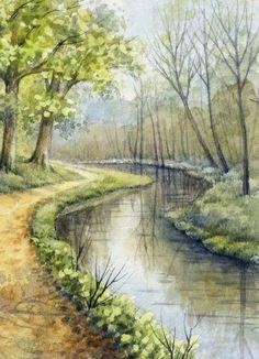 ACEO Original Miniature Watercolor Painting Winter Part # 2 by Elena Mezhibovsky #Miniature