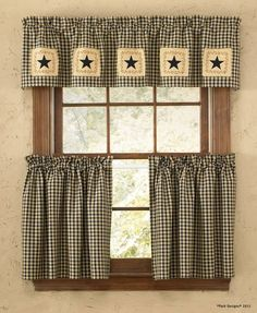 Country primitive decorating at it's best, the Star Patch Lined Curtain Valance measures 60 x 14 (shown top)from Park Designs. Cottage Curtains, Curtains Living, Rustic Curtains, Country Curtains, Lined Curtains, Diy Curtains, Colorful Curtains, Cafe Curtains, Kitchen Curtains