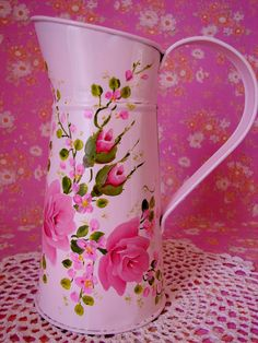 Tin Pitcher Vase Hand Painted Pink Roses Shabby