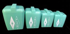 Vintage 50s 60s Mid Century Set 4 Seafoam Green Aqua Diamond Starburst Canisters | Collectibles, Kitchen & Home, Kitchenware | eBay!