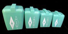 Vintage 50s 60s Mid Century Set 4 Seafoam Green Aqua Diamond Starburst Canisters
